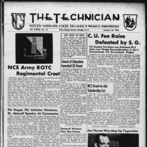 Technician, Vol. 39 No. 15 [Vol. 35 No. 16], January 13, 1955