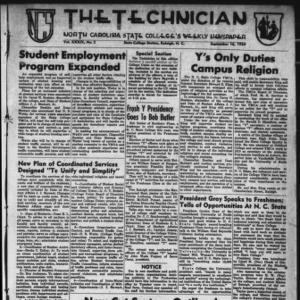 Technician, Vol. 39 No. 2 [Vol. 35 No. 2], September 16, 1954