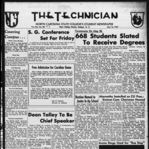 Technician, Vol. 41 No. 43 [Vol. 37 No. 43], May 16, 1957