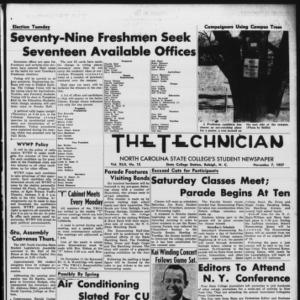 Technician, Vol. 42 No. 15 [Vol. 38 No. 15], November 7, 1957