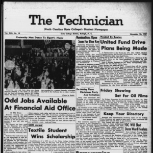 Technician, Vol. 42 No. 18 [Vol. 38 No. 18], November 18, 1957