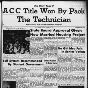 Technician, Vol. 42 No. 20 [Vol. 38 No. 20], November 25, 1957