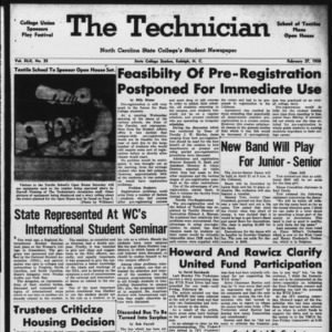 Technician, Vol. 42 No. 35 [Vol. 38 No. 35], February 27, 1958