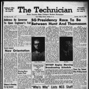 Technician, Vol. 42 No. 45 [Vol. 38 No. 45], April 14, 1958