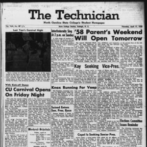 Technician, Vol. 42 No. 46 [Vol. 38 No. 46], April 17, 1958