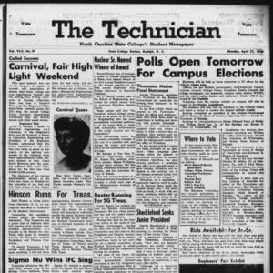 Technician, Vol. 42 No. 47 [Vol. 38 No. 47], April 21, 1958