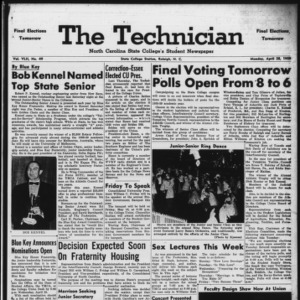 Technician, Vol. 42 No. 49 [Vol. 38 No. 49], April 28, 1958