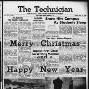 Technician, Vol. 43 No. 26 [Vol. 39 No. 26], December 15, 1958
