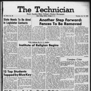 Technician, Vol. 43 No. 29 [Vol. 39 No. 29], January 15, 1959