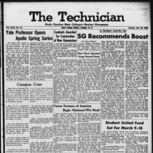 Technician, Vol. 43 No. 35 [Vol. 39 No. 35], February 23, 1959