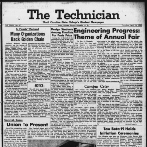 Technician, Vol. 43 No. 47 [Vol. 39 No. 47], April 16, 1959