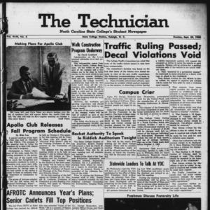Technician, Vol. 43 No. 6 [Vol. 39 No. 6], September 29, 1958