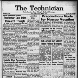 Technician, Vol. 44 No. 21 [Vol. 40 No. 21], December 3, 1959