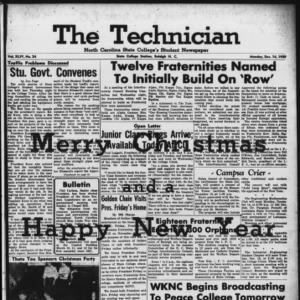 Technician, Vol. 44 No. 24 [Vol. 40 No. 24], December 14, 1959