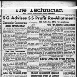 Technician, Vol. 44 No. 33 [Vol. 40 No. 33], February 22, 1960