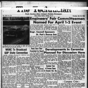 Technician, Vol. 44 No. 34 [Vol. 40 No. 34], February 25, 1960