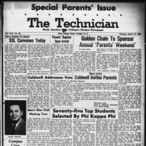 Technician, Vol. 44 No. 40 [Vol. 40 No. 40], March 17, 1960