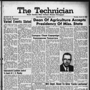 Technician, Vol. 44 No. 44 [Vol. 40 No. 44], March 31, 1960