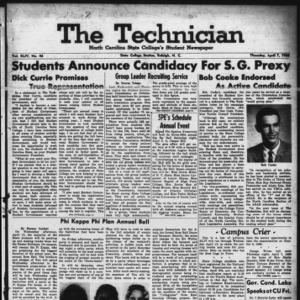 Technician, Vol. 44 No. 46 [Vol. 40 No. 46], April 7, 1960