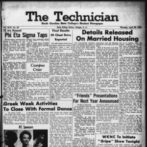 Technician, Vol. 44 No. 49 [Vol. 40 No. 49], April 28, 1960