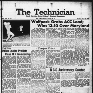 Technician, Vol. 45 No. 11 [Vol. 41 No. 11], October 10, 1960