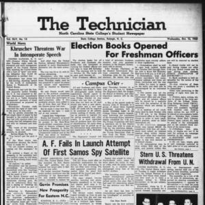 Technician, Vol. 45 No. 12 [Vol. 41 No. 12], October 12, 1960