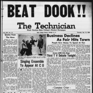 Technician, Vol. 45 No. 13 [Vol. 41 No. 13], October 13, 1960