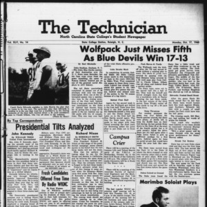 Technician, Vol. 45 No. 14 [Vol. 41 No. 14], October 17, 1960