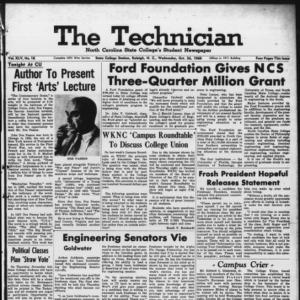 Technician, Vol. 45 No. 18 [Vol. 41 No. 18], October 26, 1960