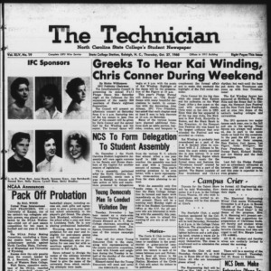 Technician, Vol. 45 No. 19 [Vol. 41 No. 19], October 27, 1960