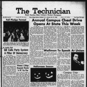 Technician, Vol. 45 No. 20 [Vol. 41 No. 20], October 31, 1960