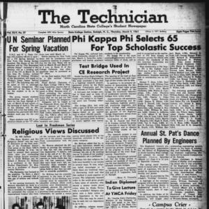 Technician, Vol. 45 No. 57 [Vol. 41 No. 57], March 9, 1961