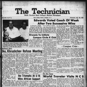 Technician, Vol. 45 No. 6 [Vol. 41 No. 6], September 28, 1960