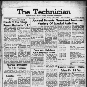 Technician, Vol. 45 No. 65 [Vol. 41 No. 65], April 10, 1961