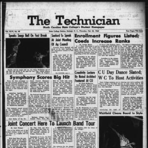 Technician, Vol. 46 No. 49 [Vol. 42 No. 49], February 22, 1962