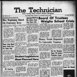 Technician, Vol. 46 No. 51 [Vol. 42 No. 51], February 28, 1962