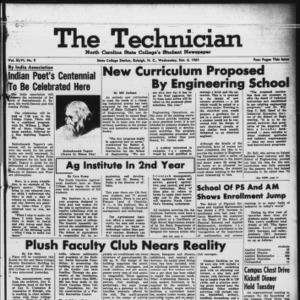 Technician, Vol. 46 No. 9 [Vol. 42 No. 9], October 4, 1961