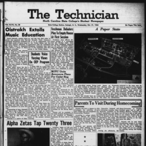 Technician, Vol. 47 No. 20 [Vol. 43 No. 19], October 31, 1962