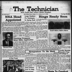 Technician, Vol. 47 No. 41 [Vol. 43 No. 40], January 14, 1963