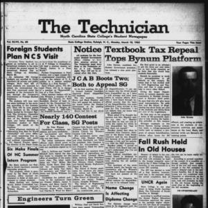 Technician, Vol. 47 No. 60 [Vol. 43 No. 59], March 18, 1963