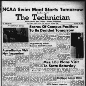 Technician, Vol. 47 No. 64 [Vol. 43 No. 63], March 27, 1963