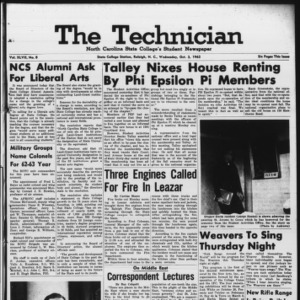 Technician, Vol. 47 No. 8 [Vol. 43 No. 8], October 3, 1962