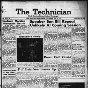 Technician, Vol. 48 No. 1 [Vol. 44 No. 1], September 16, 1963