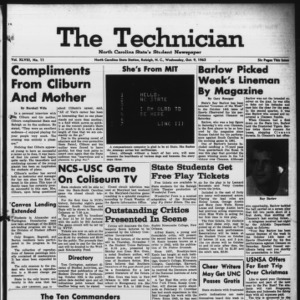 Technician, Vol. 48 No. 11 [Vol. 44 No. 11], October 9, 1963