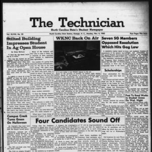 Technician, Vol. 48 No. 22 [Vol. 44 No. 22], November 4, 1963