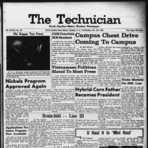 Technician, Vol. 48 No. 29 [Vol. 44 No. 29], November 20, 1963