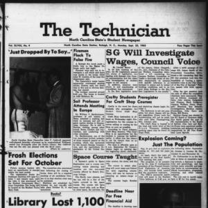 Technician, Vol. 48 No. 4 [Vol. 44 No. 4], September 23, 1963