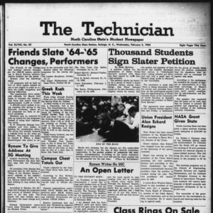 Technician, Vol. 48 No. 43 [Vol. 44 No. 43], February 5, 1964