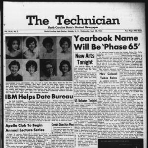 Technician, Vol. 49 No. 7 [Vol. 45 No. 7], September 30, 1964