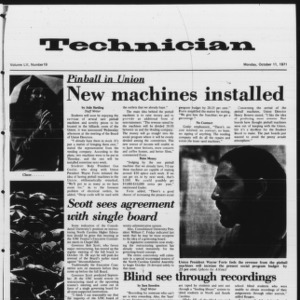 Technician, Vol. 52 No. 19, October 11, 1971